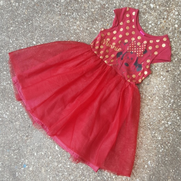 7544ebe8f Disney Dresses | Minnie Mouse Red Gold Polka Dot Dress Girls M ...